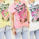 Tshirt-Dames-Life-Geel-maat-M