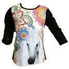 Shirt-Meisjes-Paard-Zwart-maat-92