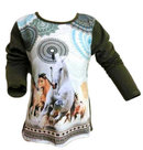 Shirt-Meisjes-Paard-Groen-maat-98-104