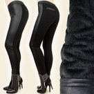 Treggings-Leder-Look-Dames-Zwart