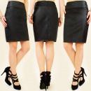 Leder-Look-Rokje-Dames-Zwart-maat-XL