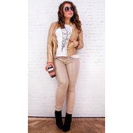 Gewaxte Broek Dames Camel (Leder-look)