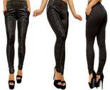 Lederlook-treggings-Dames-zwart-one-size