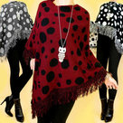 Poncho-Dames-Donkerrood-One-Size