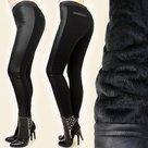 Treggings-Leder-Look-Dames-Zwart